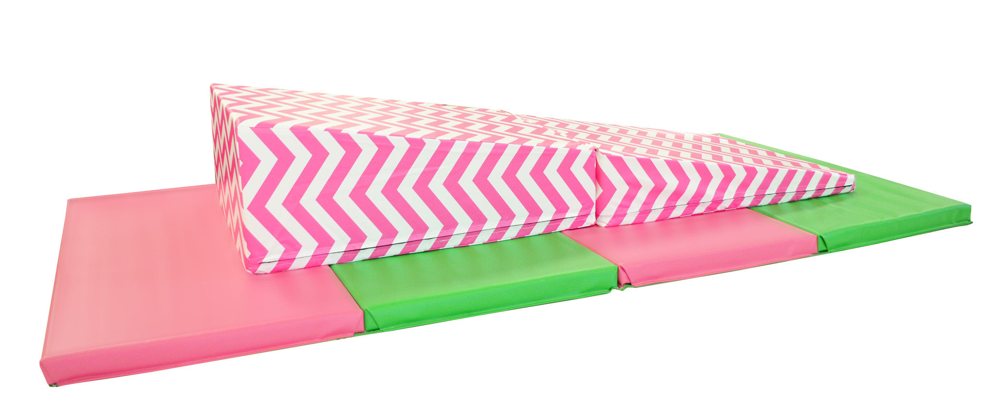 "4' x 8' x 2"" Pink Green gymnastics Folding Mat and Pink Chevron Incline Combo"
