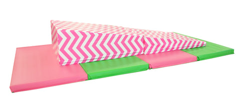 "Holiday Shop 4' x 8' x 2"" Pink Green gymnastics Folding Mat and Pink Chevron Incline Combo"