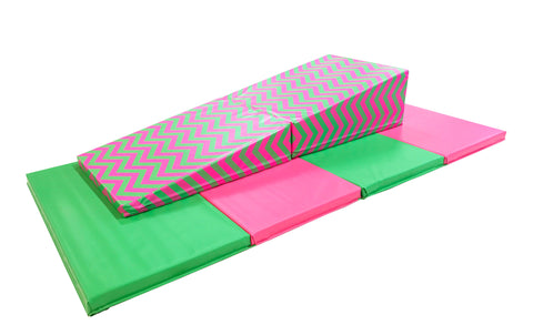 "4' x 8' x 2"" Pink and Green Gymnastics Folding Mat and Pink Green Chevron Incline Combo"
