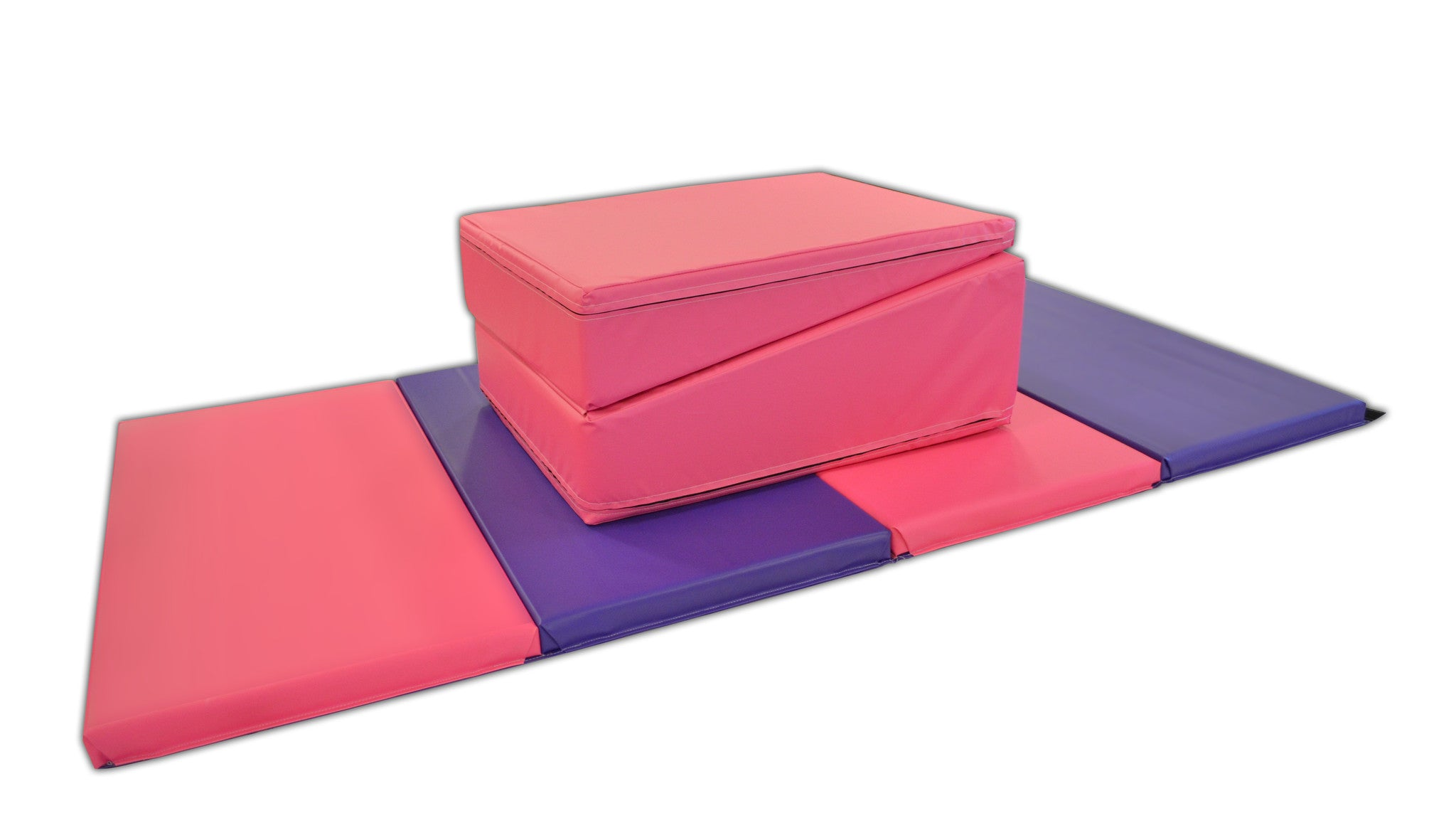 "Quick Ship 4' x 8' x 2"" Pink Purple gymnastics Folding Mat and Pink Incline Combo"