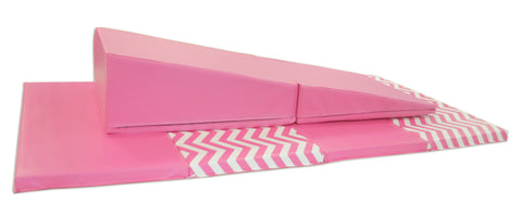 "4' x 8' x 2"" Pink Chevron gymnastics Folding Mat and Pink Incline Combo"