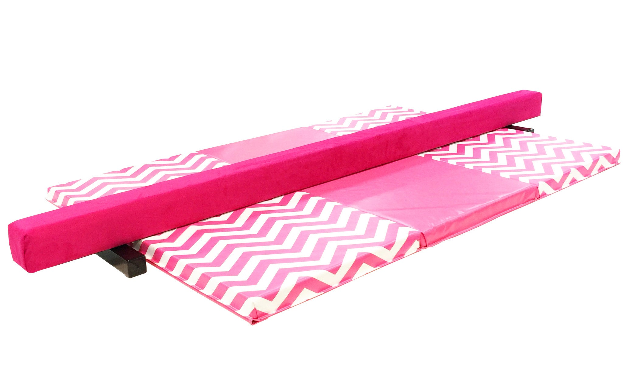 Chevron Print Gymnastics Balance Beam and Folding Mat Combo Package