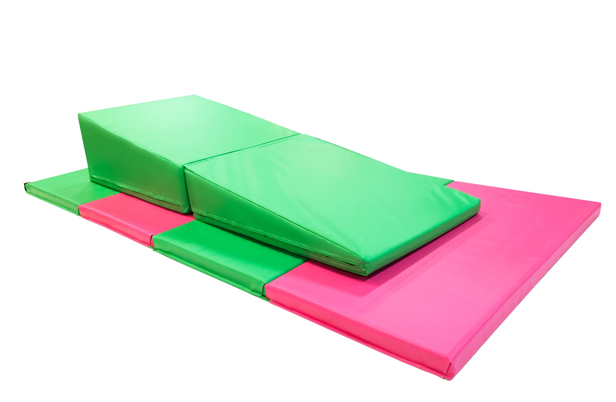 "4' x 8' x 2"" Pink Green gymnastics Folding Mat and Green Incline Combo"