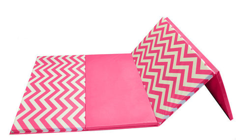 "Chevron Zigzag 4' x 8' x 1 3/8"" Advanced Level Folding Gymnastics Mat Pink and White"