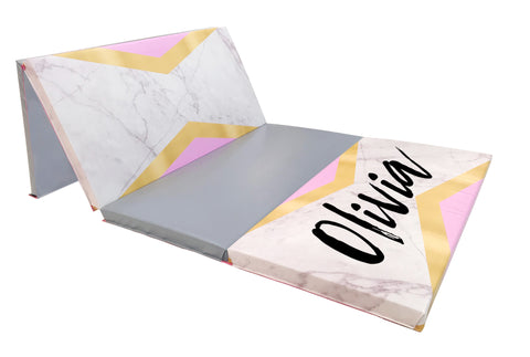 White marble gymnastics home folding mat with personalized monogram
