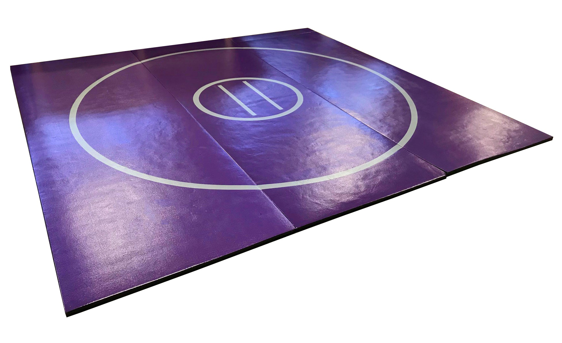 "12' x 12' x 1 3/8"" Purple and Gray Roll-Up Wrestling Mat"