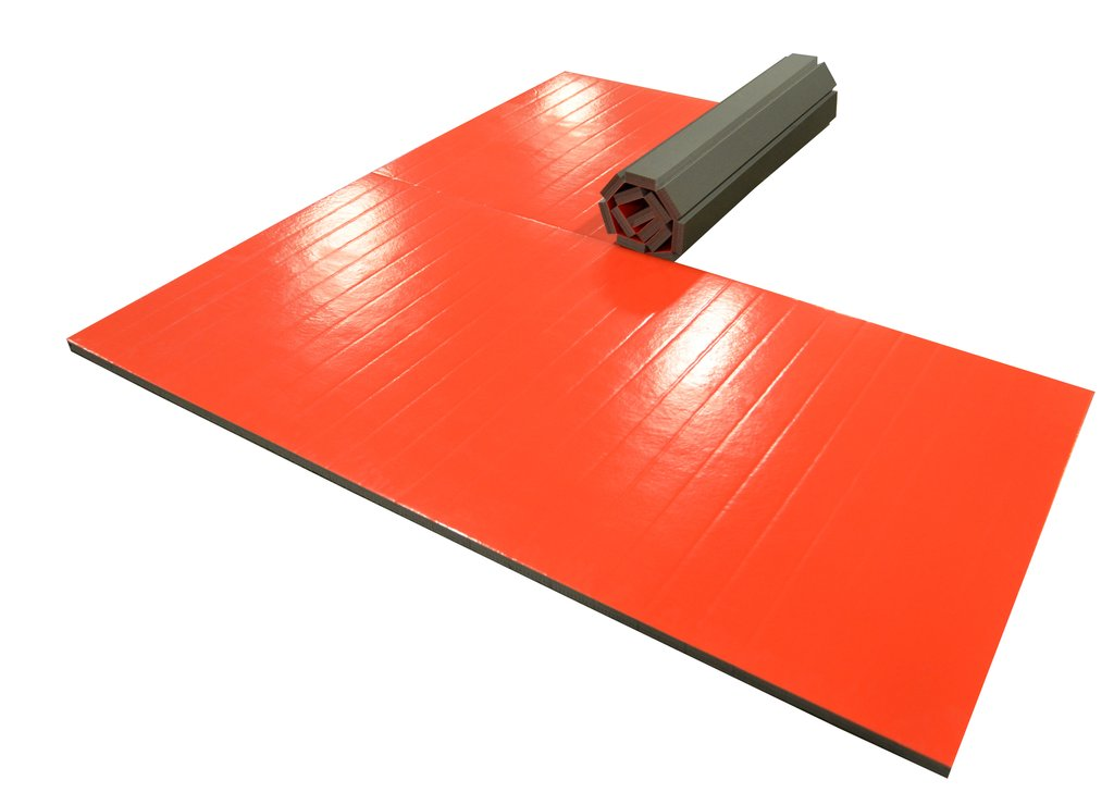 red roll up wrestling mat