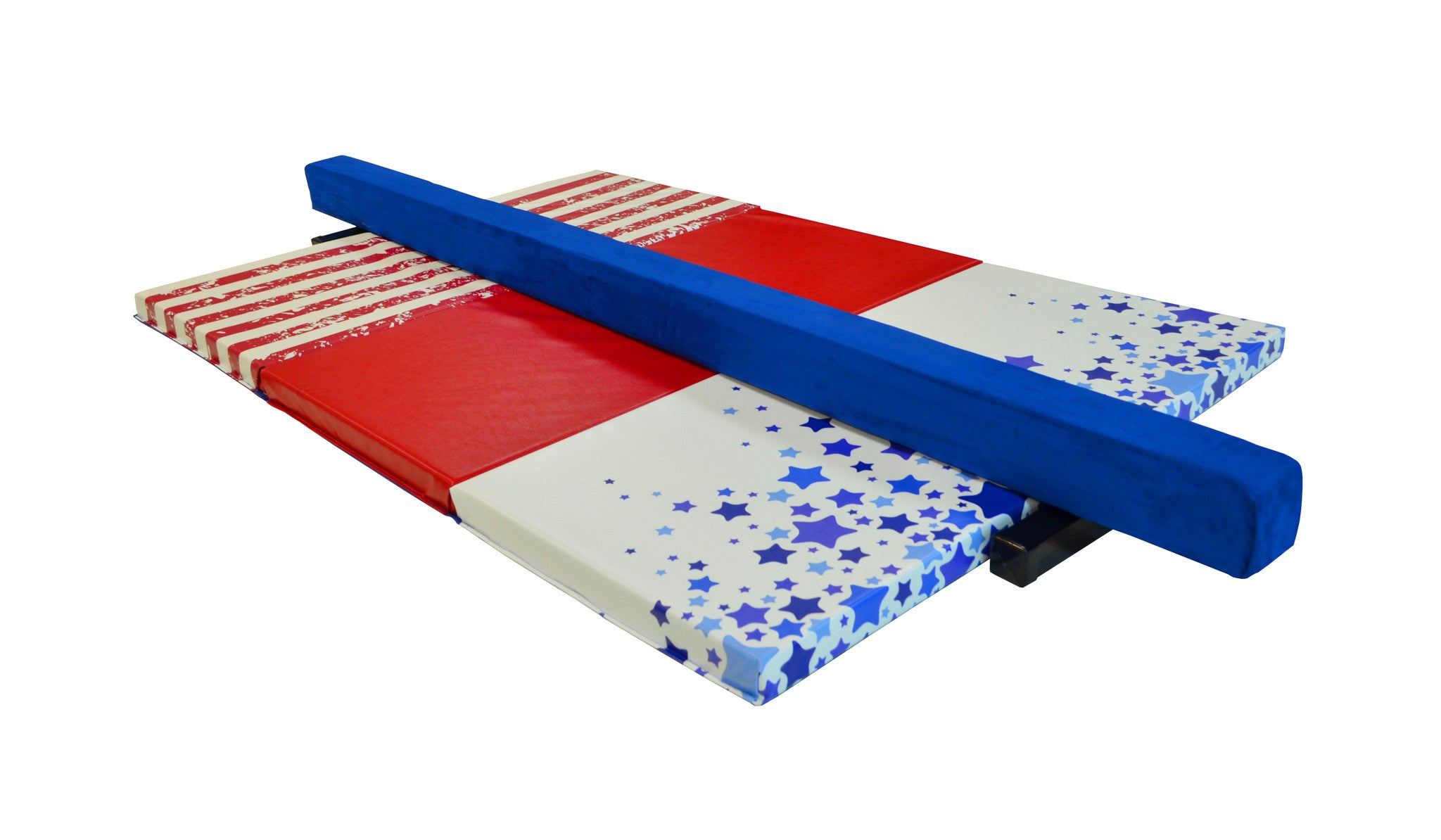 Stars and Stripes Gymnastics Balance Beam and Folding Mat Combo Package
