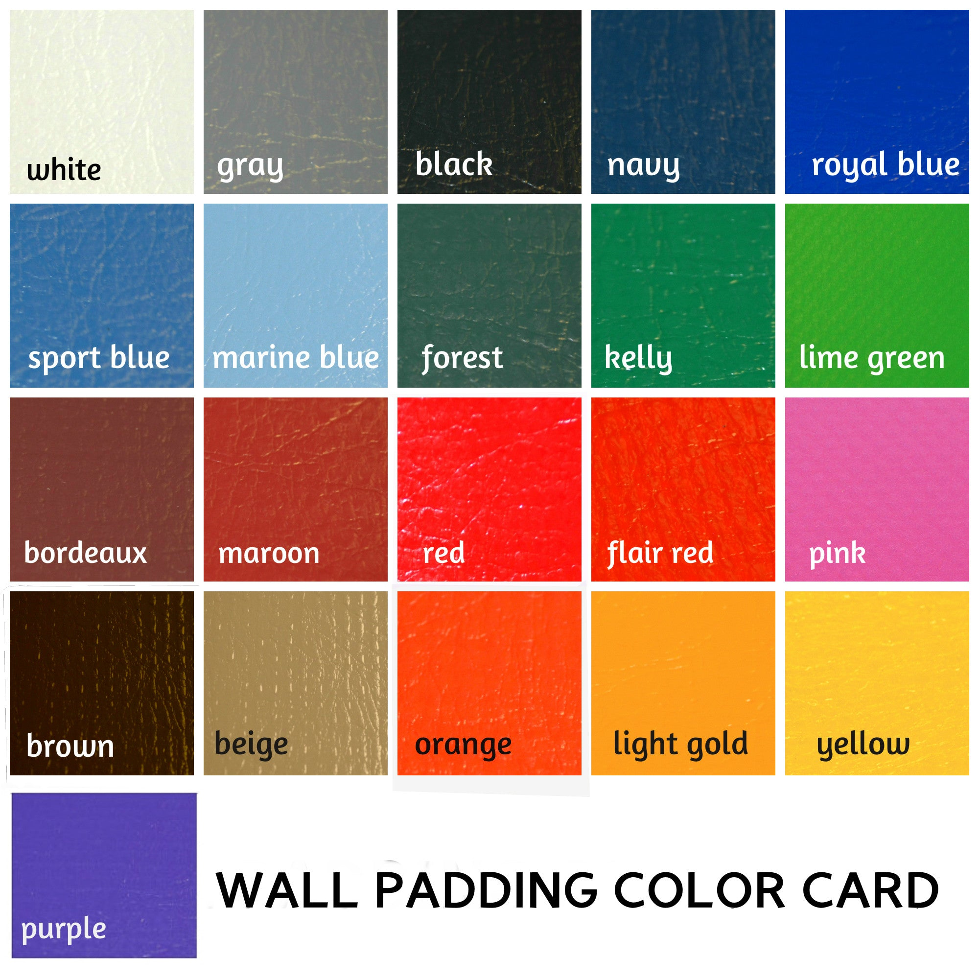 Colors Available for Custom Wall Padding