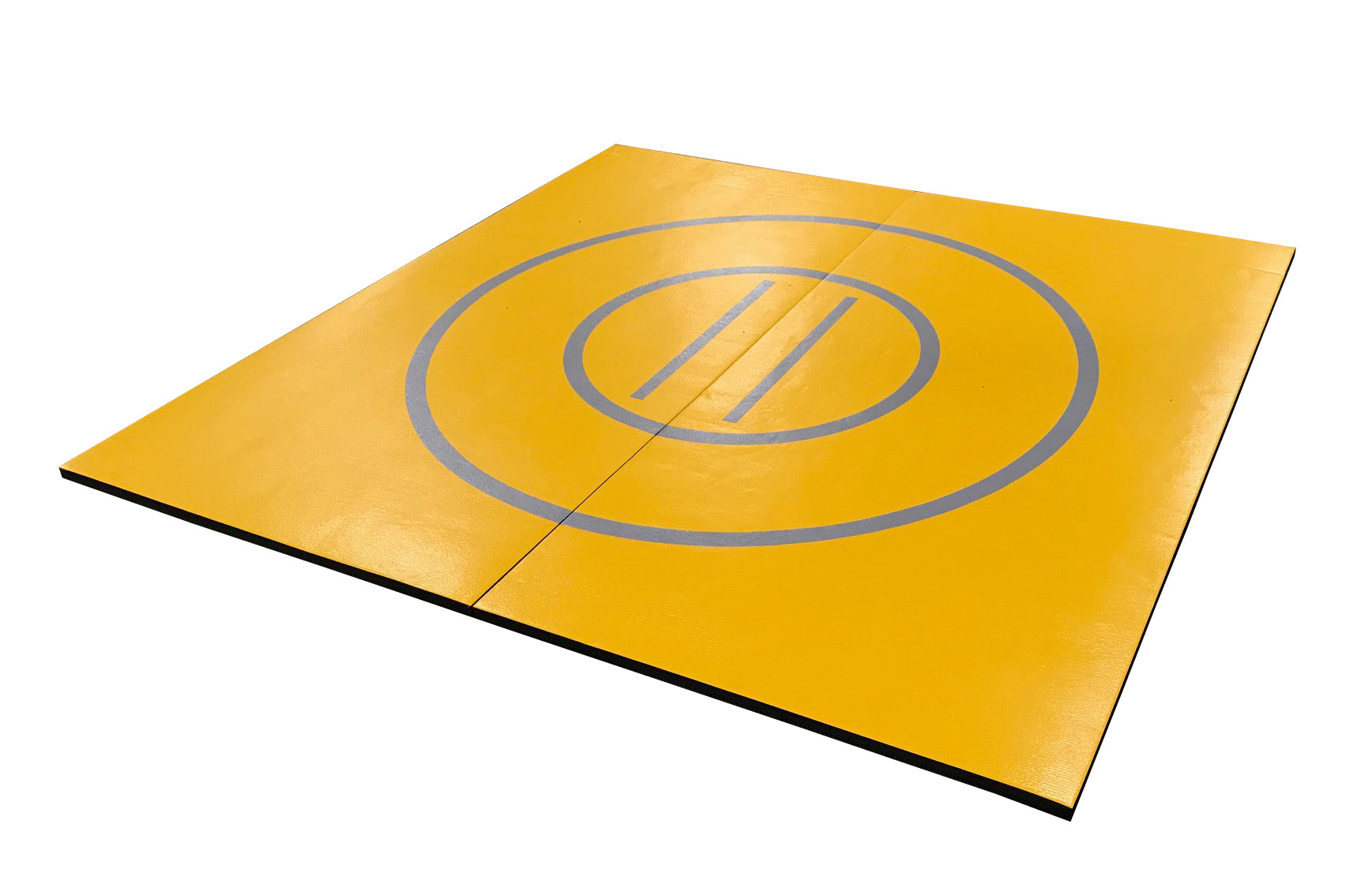 "8' x 8' x 1 3/8"" Gold and Gray Roll-Up Wrestling Mat"