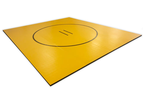 "Yellow 176"" x 17' 3/4"" x 1 3/8"" Roll-Up Wrestling Mat With Black Circles"