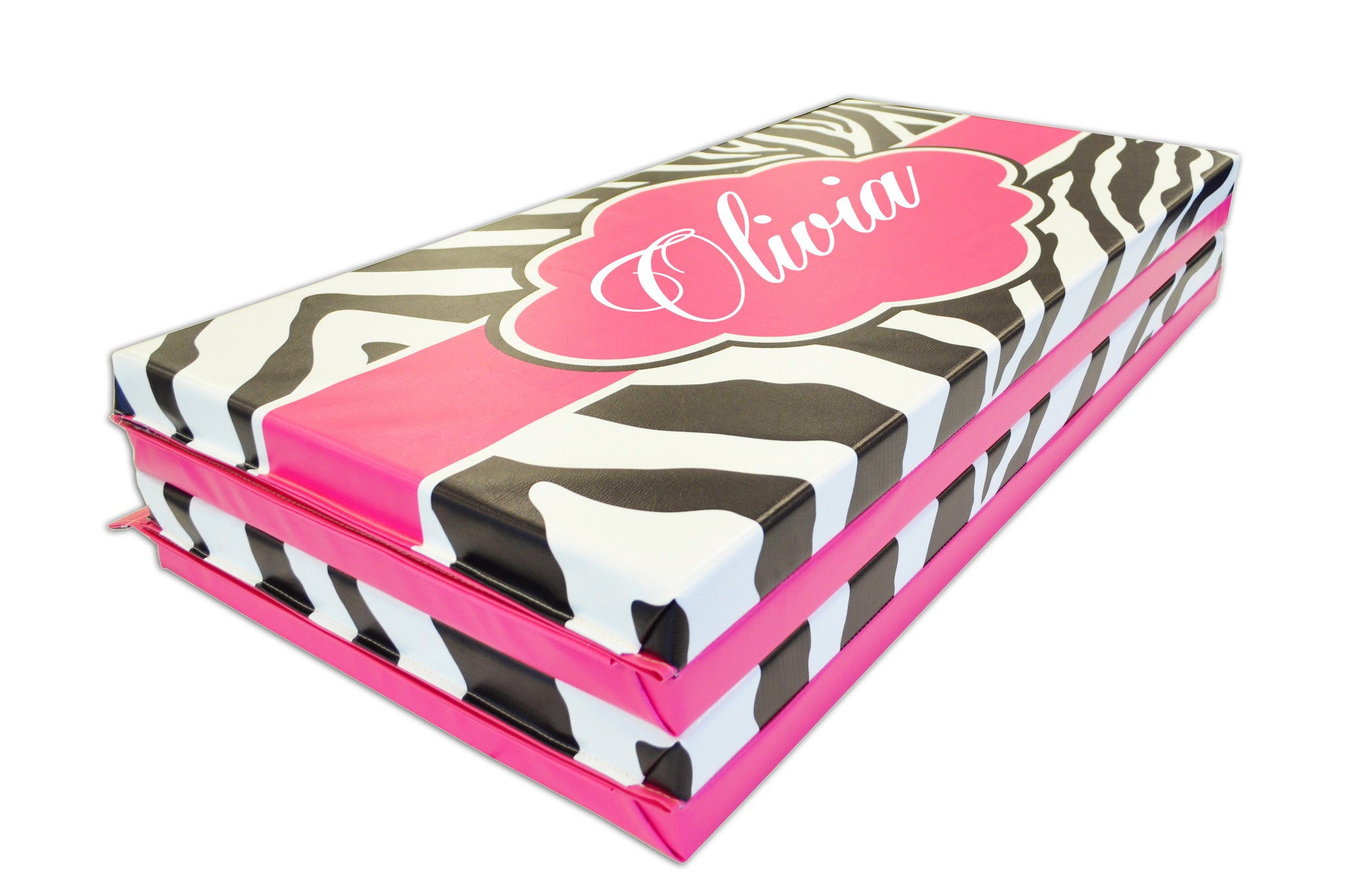 Buy together and Save! Pink Zebra Print Monogram 4' x 8' Mat and Folding Incline Mat