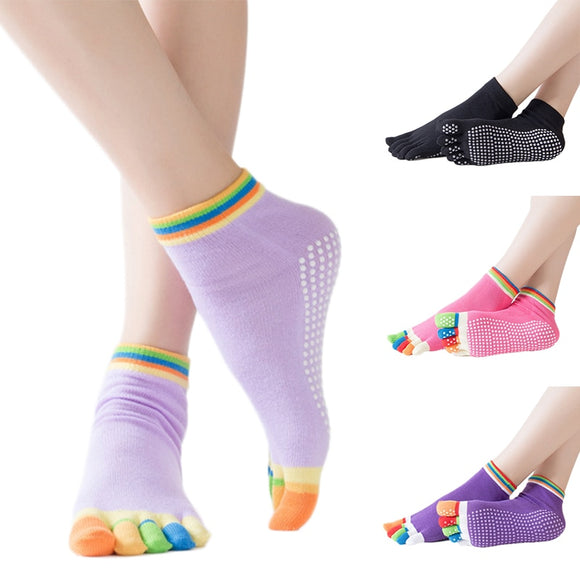 Women Yoga Socks Anti-slip Five Fingers Dance Socks Ballet Gym Fitness Sports Pilates Cotton Breathable Grip Socks Sports Socks