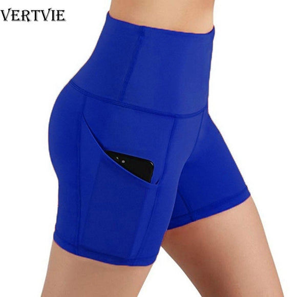 VERTVIE Women High Waist Sports Shorts Workout Running Fitness Gym Yoga Leggings Female Compression Yoga Shorts With Side Pocket