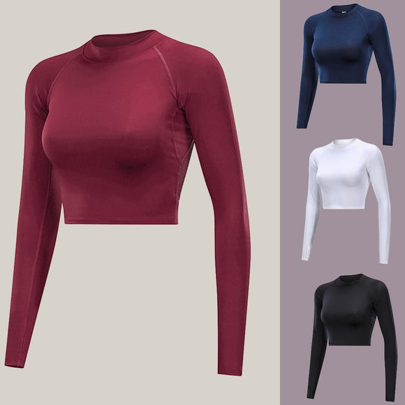 Mesh Backless Crop Top Yoga Top Sport Bras Long Sleeve Fitness Shirt Women Quick Dry Breathable Playera Mujer Gym Top #C8