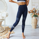 CHRLEISURE Blue Stripe Workout Yoga Set Women Seamless Gym Sports Set Fitness High Waist Leggings Bra Suits Clothing