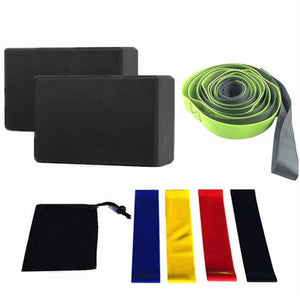 Yoga Brick Set 12-Hole Yoga Stretch Belt Resistance Circles Black Storage Bag Yoga Accessories Fitness Equipment Balance Pads