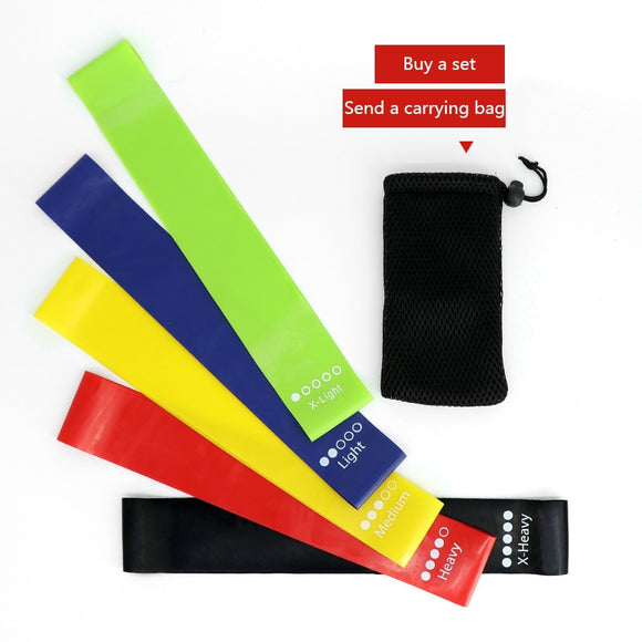 5pcs/set Yoga Resistance Band Rubber Fitness Rally Belt Latex Pull Band Pilates Sports Strength Training Tension Band Equipment