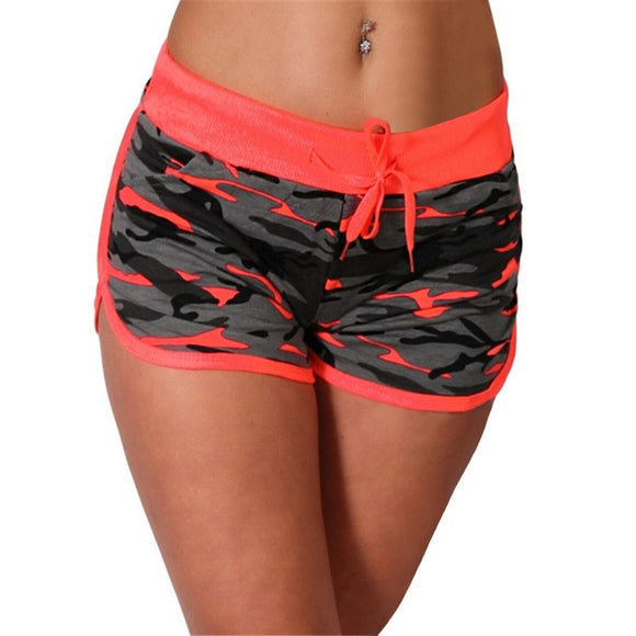 Women Sport Yoga Shorts Women Cool Shorts Short Fitness Camouflage Elastic Running Outdoor Broadcloth Print Polyester
