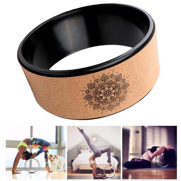 Wood Yoga Wheel Pilates With Buddha Lotus Professional TPE Yoga Circles Gym Workout Back Training Tool For Bodybuilding Fitness