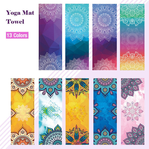 Fitness Yoga Mat Microfiber Print Pattern Foldable Portable Pilates Yoga Towel Soft Anti-slip Indoor Outdoor Sports Mat Gym Mat