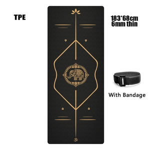 Jusenda 183X68cm 6mm Suede TPE Yoga Mat Sports Mats For Fitness Pilates Exercise Gymnastic Yoga Mat thick With Position Line
