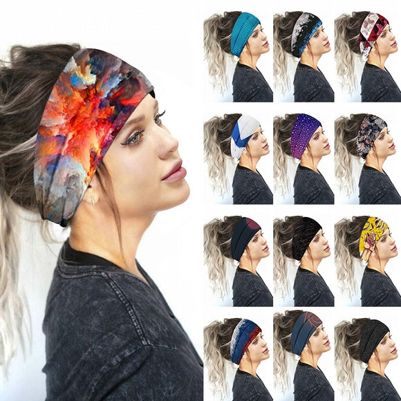 Printed Sports Wide Turban Headband Women Girls Hair Head Bands Wrap Accessories Scrunchy Hairband Sports Headdress 2020 New