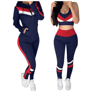 Women's Yoga Set Fitness Yoga Sports Suit Sexy Navel Women's Tops Slim Running Training Short Gym Suit Sport Training Set 3pc#G3