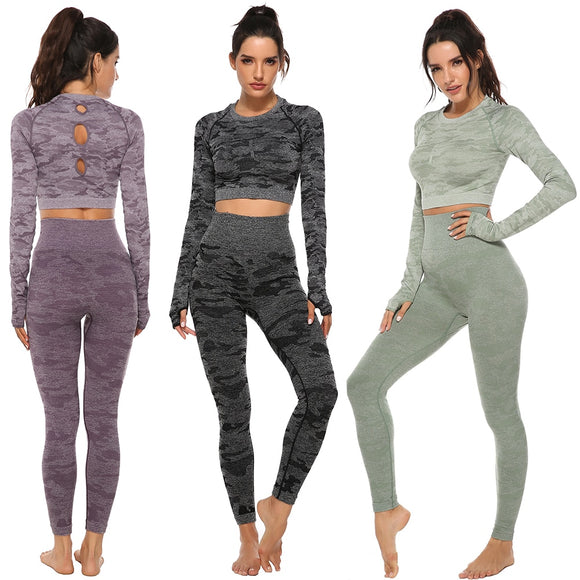 Seamless Yoga Set Women 2pcs Fitness Sports Suits Woman Push Up Leggings Long Sleeve Top High Waist Sport Leggings Gym Clothes