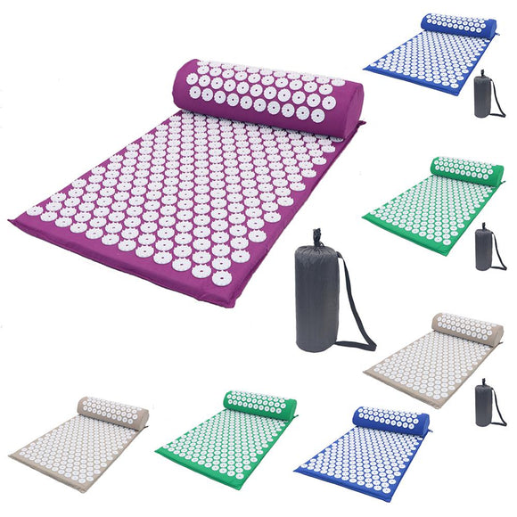 Massage Mat Acupressure Mat Yoga Lotus Spike Relieve Back Body Pain Spike Applicator Yoga Mat Bag Pranamat