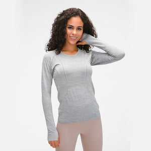 Nepoagym OCEAN Women Yoga Seamless Top Super Soft Long Sleeve Shirt Stretchy Workout Tops Sports Wear for Women Gym