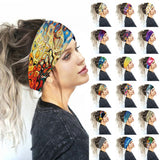 Wide Cotton Stretch Women Headbands Floral Prints Elastic Hair Bands For Women Headwrap Turban Headwear Girls Hairbands