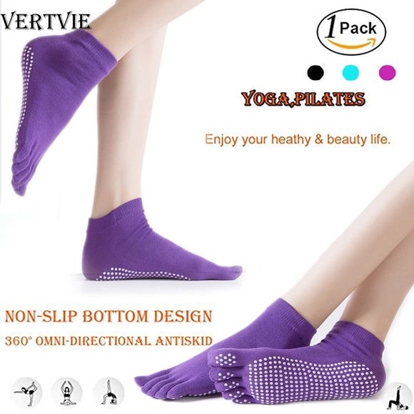 Women Yoga Socks Anti-slip Five Fingers Backless Silicone Non-slip 5 Toe Socks Ballet Gym Fitness Sports Cotton Socks