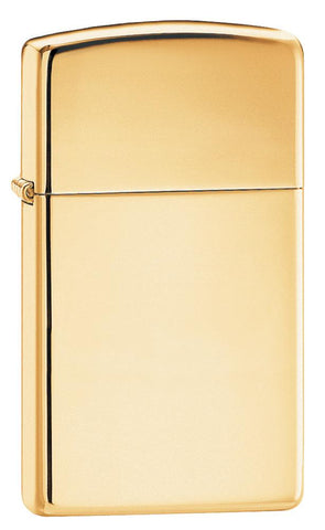 Vooraanzicht 3/4 hoek Zippo aansteker Slim Brass High Polished basismodel
