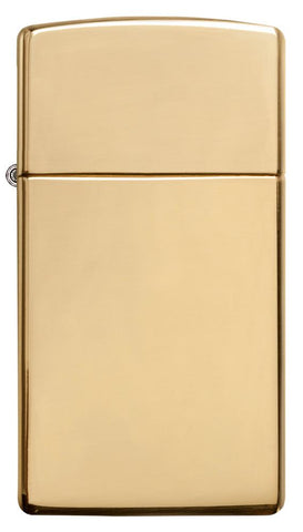Vooraanzicht Zippo aansteker Slim Brass High Polished basismodel