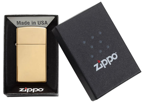 Vooraanzicht Zippo aansteker Slim Brass High Polished basismodel in open geschenkverpakking