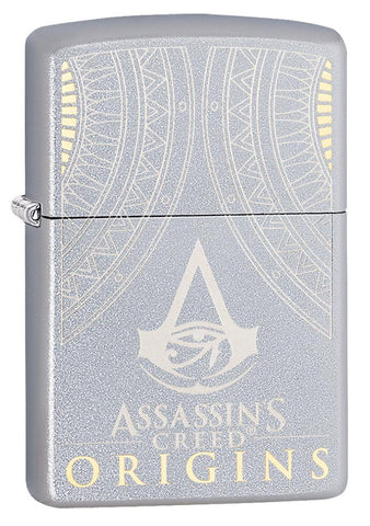 Vooraanzicht 3/4 hoek Zippo-aansteker Assassin's Creed Origins-logo