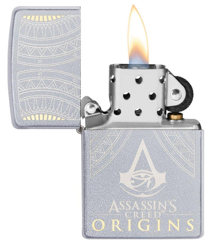 Zippo-aansteker Assassin's Creed Origins-logo open met vlam