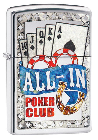 Vooraanzicht 3/4 hoek Zippo aansteker All In Poker Club