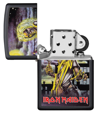 Zippo-aansteker zwart Iron Maiden Album Cover Killer open