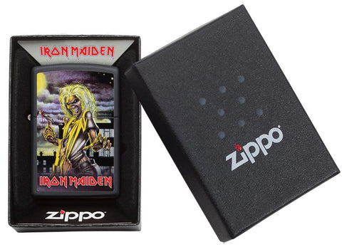 Zippo-aansteker zwart Iron Maiden Album Cover Killer in open doos