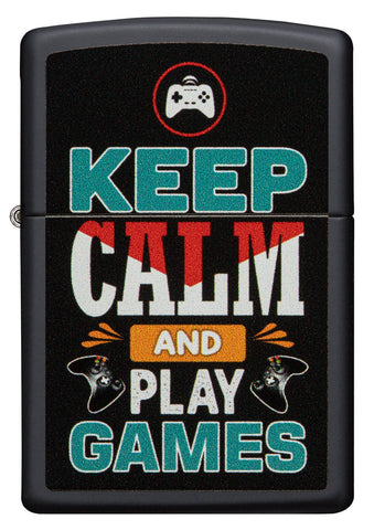 Vooraanzicht Zippo aansteker zwart met inscriptie Keep Calm and Play Games