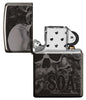 Zippo-aansteker grijs glanzend Sons of Anarchy doodshoofden open
