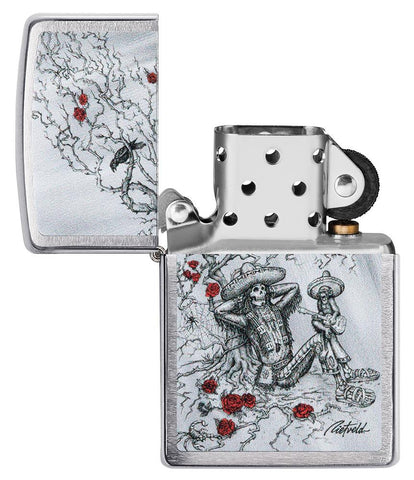 Zippo-aansteker chroom skelet in mexicabere outfit open