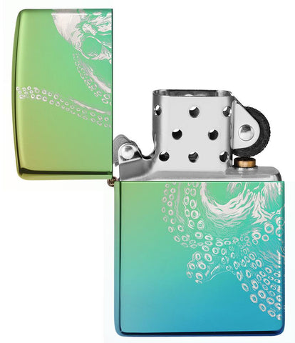 Vooraanzicht Zippo-aansteker High Polish Teal 360° Photo Image met reuzenkraak open