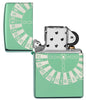 Zippo-aansteker High Polish Green met roulettetafel open
