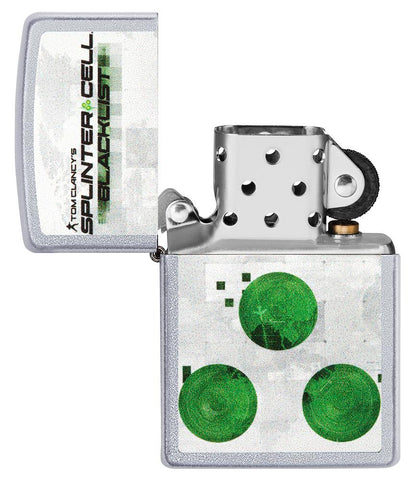 Vooraanzicht Zippo-aansteker geborsteld chroom Tom Clancy's Splinter Cell® met print open