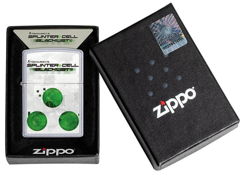 Vooraanzicht Zippo-aansteker geborsteld chroom Tom Clancy's Splinter Cell® met print in open geschenkverpakking