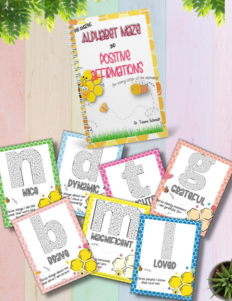 Example of pages in book Bee Amazing Alphabet Maze and Positive Affirmation Activity Book