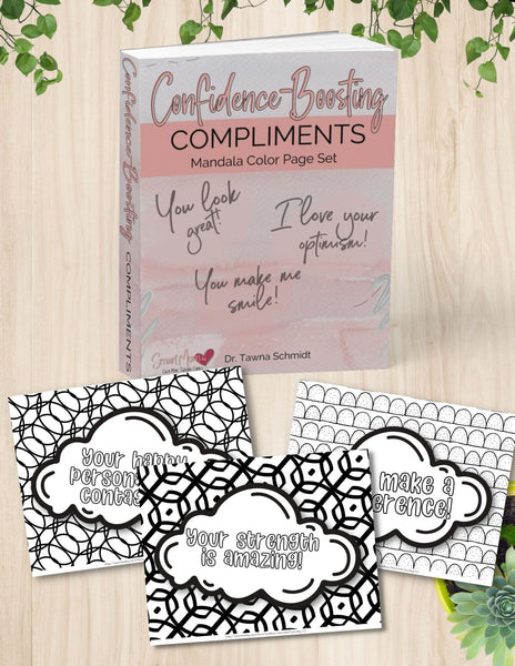 Confidence Boosting Compliment book image and sample pages